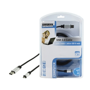 Cable USB A vers micro USB B Male - Konig - CMP-CE016-1.8